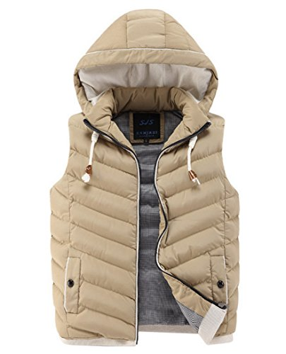 Feoya Men's Winter Warm Sleeveless Jacket Zipper Waistcoa...