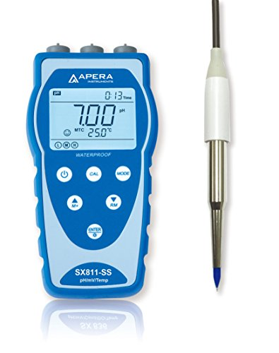 Apera Instruments SX811-SS Portable pH Meter for Food and Dairy Products, equipped with Swiss LanSen Food-Grade Stainless Steel Spear Probe, Anti-Contamination by Apera Instruments, LLC