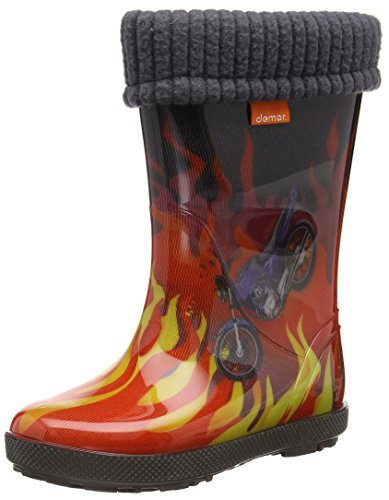 DEMAR Kinder Gummistiefel gefüttert HAWAI LUX EXCLUSIVE (26/27, flammen)