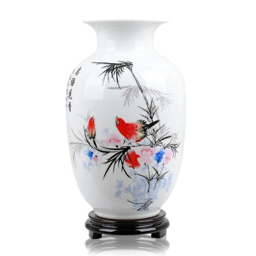 - ufengke Chinese White Ceramic Vase With Stand, Porcelain Gift Vase, Bird And Flower Painting, For Home Decoration