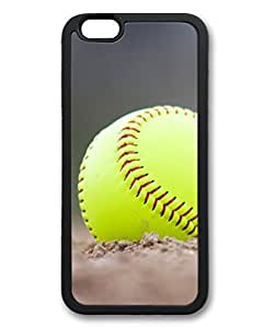 Black Case for iphone 6 Plus,Fashion Cool Art Softball Custom Protective Soft TPU Back Case Cover for iphone 6 Plus