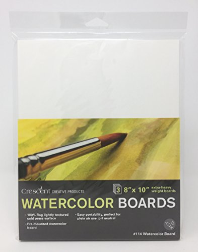 "Crescent Creative Products 114-0810 Crescent Art & Illustration Watercolor Board, 8"" x 10"", White"