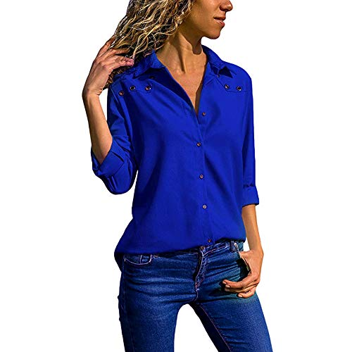 GOVOW Plus Size Long Sleeves Shirts for Women V-Neck Pure Color Button Tops Loose Blouse on Clearance(US:20/CN:XXXXXL,Blue)