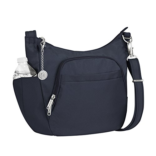 Travelon Anti-Theft Classic Crossbody Bucket Bag, Handbag and Metal Charm Keychain