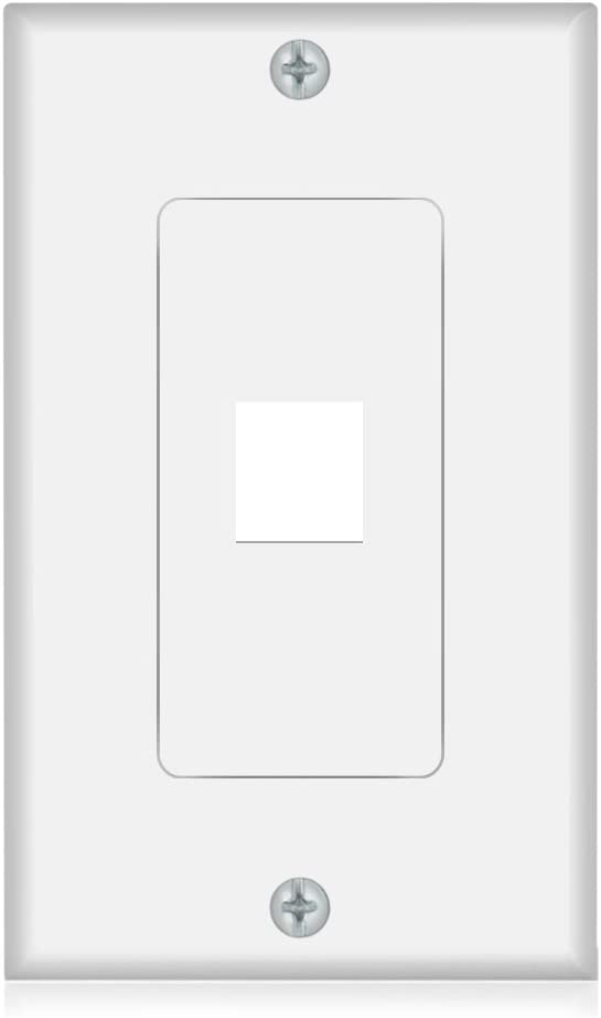Keystone Wall Plate 1 Port Wall Panel White for Keystone Jack and Modular Inserts(5 Pack