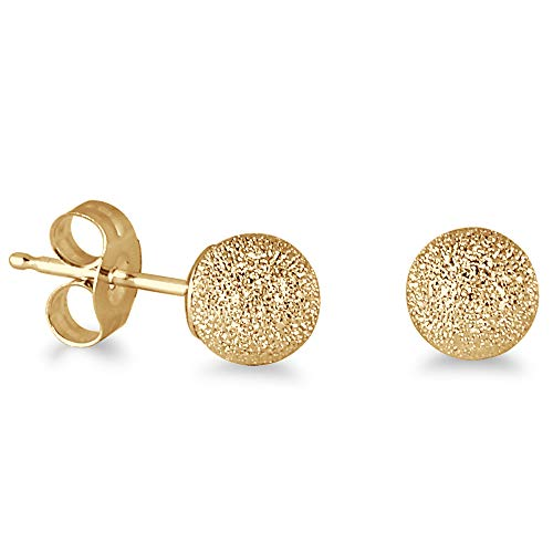 14K Yellow Gold 5mm Laser Cut Ball Stud Earrings ()