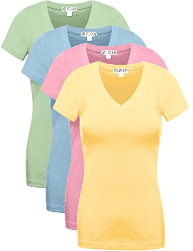 4 Pack ViiViiKay Women's V Neck Short Sleeve Assorted Colors Basic T Shirts MOS_BAN_DPNK_ABLU - L Ban