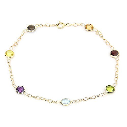 14k Yellow Gold Gemstone Anklet Bracelet With Corrugated Link Chain 9-11 Inches