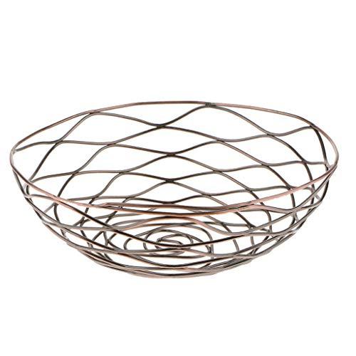 LOVIVER Fashion Creative Iron Mesh Woven Fruit Basket Fruit Bowl Art Disply Tray Holder Stand Serving Metal Storage Container Bread Basket Snacks Rack - Bronze M