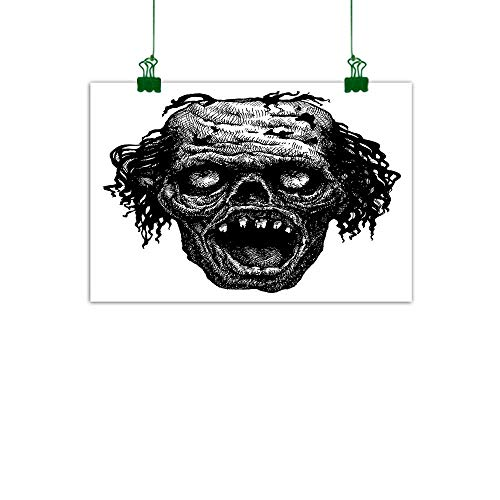 J Chief Sky Halloween Canvas Painting Zombie Head Evil Dead Man Portrait Fiction Creature Scary Monster Graphic Room Decor W 32