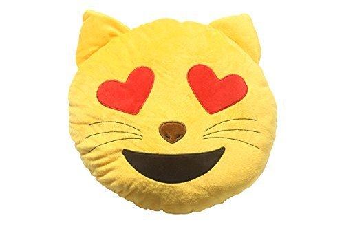(Soft Emoji Emoticon Cat Heart Eyes Face Yellow Round Cushion Pillow Stuffed Plush Toy)