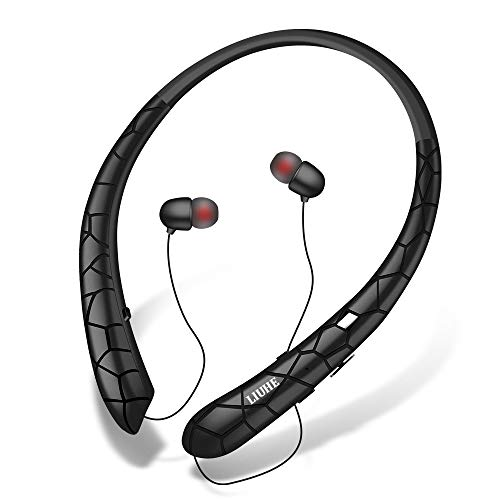 [Upgrade V4.1] Bluetooth Headphones LIUHE Wireless Neckband Headset Retractable Earbuds Sports Sweatproof HD Stereo Noise Cancelling Earphone w/Mic for iPhone and Android Cellphones (Black) -
