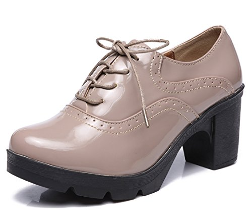 (DADAWEN Women's Classic T-Strap Platform Mid-Heel Square Toe Oxfords Dress Shoes Apricot US Size 8)