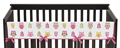 Sweet-Jojo-Designs-Pink-Modern-Happy-Owl-Long-Front-Rail-Guard-Baby-Teething-Cover-Crib-Protector-Wrap