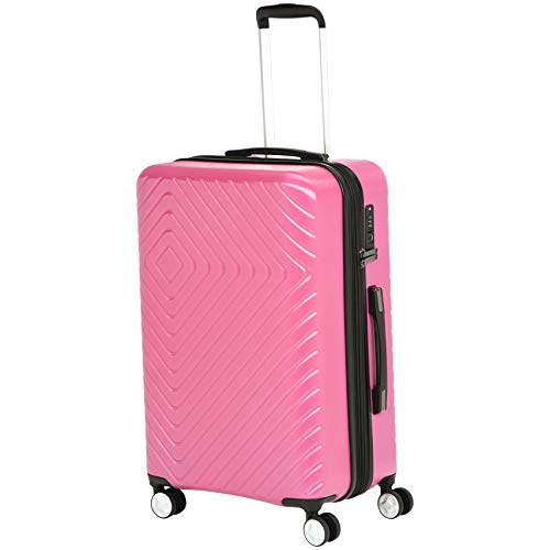 (AmazonBasics Geometric Hard Shell Carry-On Rolling Spinner Suitcase Luggage - 24 Inch, Pink)