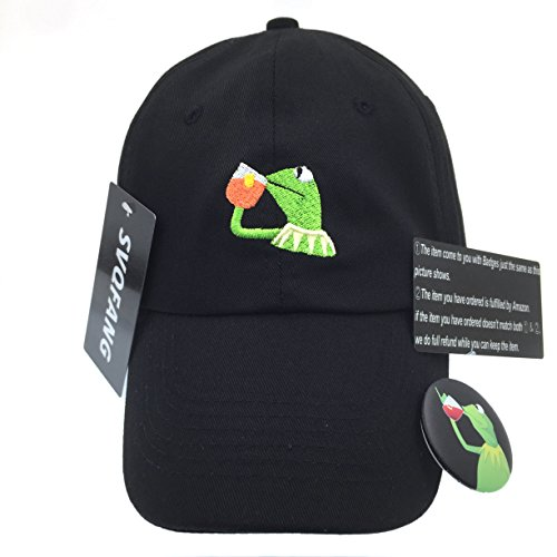 Kermit The Frog Dad Hat Cap Sipping Sips Drinking Tea Champion Lebron (Kermit Frog)