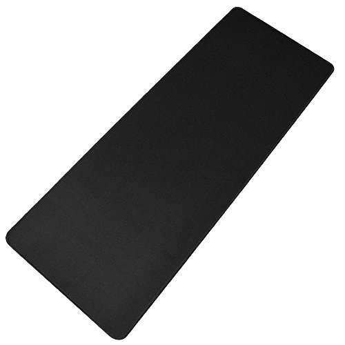 HOOYEE Extended Non-Slip Rubber Base 3mm Thick Soft Keyboard Gaming Mouse Pad Mat, Stitched Edges | 31.5''x11.8''x0.12'' (Black) by HOOYEE