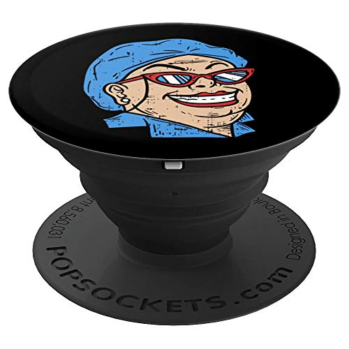 Crazy Lunch Lady - Funny Cafeteria Canteen Ladies Gift - PopSockets Grip and Stand for Phones and -