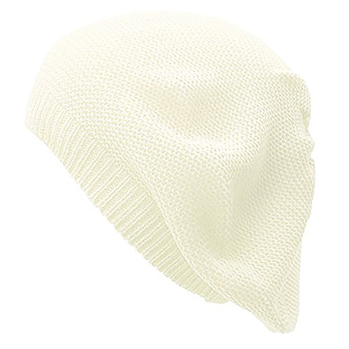 AN Beret Beanie Hat for Women Fashion Light Weight Knit Solid Color (One Size, Off White) - Beret Hats For Women