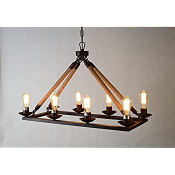 Amazon.com: Rope Filament Rectangular Chandelier Jute 39
