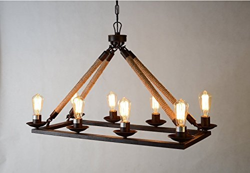 Rope Filament Rectangular Chandelier Jute 39 Inches Rustic Iron Finish Pendant Prestigious (8 Lights Chain) by Arteolamp