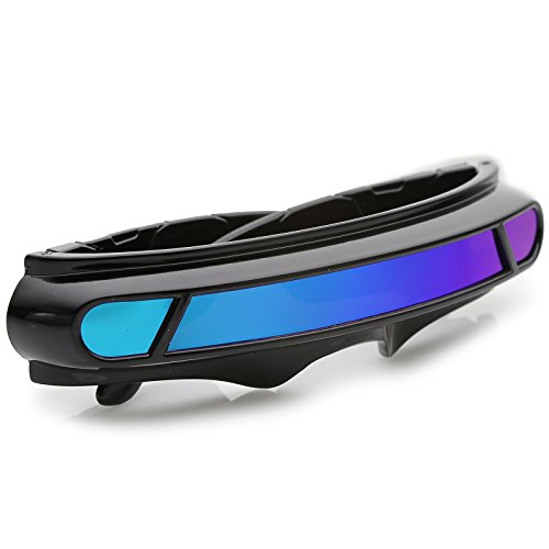 a148f32c95 sunglassLA - Futuristic Cyclops Shield Colored Mirror Mono Lens Wrap  Sunglasses 147mm (Black Green