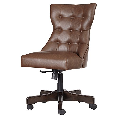 Ashley Furniture Signature Design – Adjustable Swivel Office Chair – Manual Tilt – Casual – Brown Faux Leather