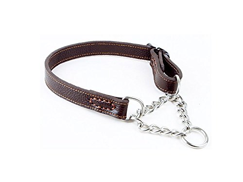 Strimm Humane Training Half Semi Choke Soft Leather Chain Dog Martingale Collar for Control Medium Breed (Hemp Martingale Dog Collars)