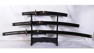 Dashio Japanese Sword Set Katana+Wakizashi+Tanto Damascus 1095 Steel Dragon Iron Fitting--Ryan1084