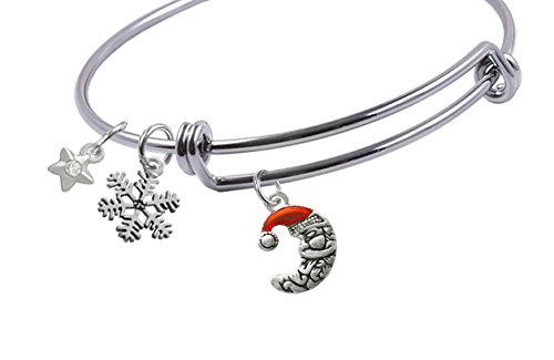 65 mm, Expandable Bangle bracelet with 2-Sided,Silver Plated, Enameled Crescent Moon Santa, Silver Plated Snowflake and Silver Plated Small Star with Crystal Charms, (Plated Snowflake Charm)