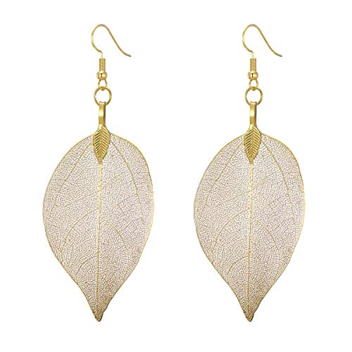 UMTNOR Natural Real Leaf Earrings Filigree Unique Evergreen Dipped Genuine Leaf Drop Dangle Gold Silver Rose Gold Earrings for Women Girls Jewelry Gifts (Yellow Gold)