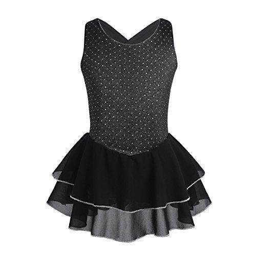 - CHICTRY Girls Sparkly Cross Back Figure Ice Skating Dress Athletic Ballet Tutu Leotards Dancewear Black 12