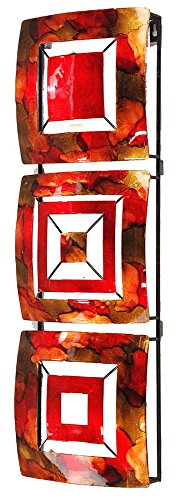 Geometric square Panels Red Metal Wall Art