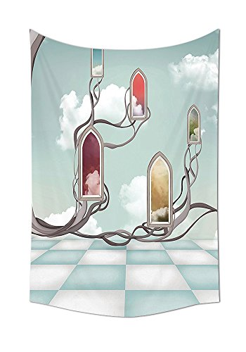 Magic Home Decor Tapestry Wall Hanging Colored Mirrors over Tree Branch on Clouds Dream Room of Sky Surreal Unusual Graphic Work Bedroom Living Room Dorm Decor (Magic Mirror On The Wall Quote)