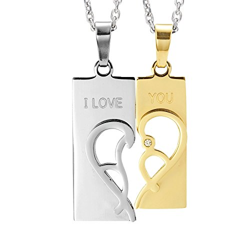 "- Urban Jewelry 2pcs His & Hers Abstract ""I Love You"" Heart Couples Jewelry CZ Pendant Necklace Set with 19"" & 21"