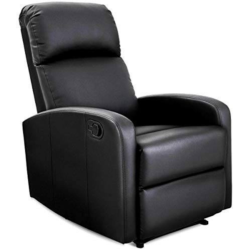 MAREEYA SHOP Manual Recliner Chair Lounger Leather Sofa Seat Home Theater Black (Lounger Body Full Chair Massage)