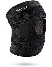 FREETOO Kniebandage Knieschoner Atmungsaktiver Knieschützer Verstellbare Knieorthese mit Gelenkschienen für Damen und Herren