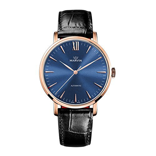Swiss Made Marvin Automatic Men Watches with Rose-Gold PVD Case and Blue Sunray Dial