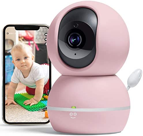Geeni Smart Home Pet and Baby Monitor with Camera, 1080p Wireless WiFi Camera with Motion and Sound Alert Pastel Pink