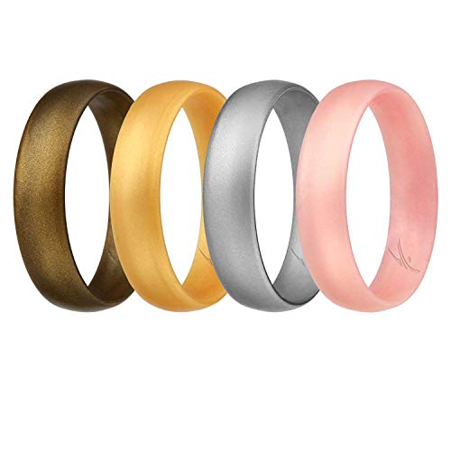 ROQ Silicone Wedding Ring for Women, Set of 4 Affordable Comfort Fit 6mm Love Metallic Silicone Rubber Wedding Bands - Silver, Gold, Rose Gold, Bronze - Size 6 ()
