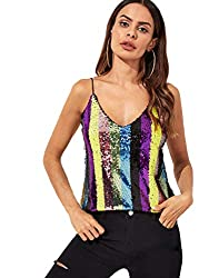 Women's Sequin V-Neck Cami Tank Top