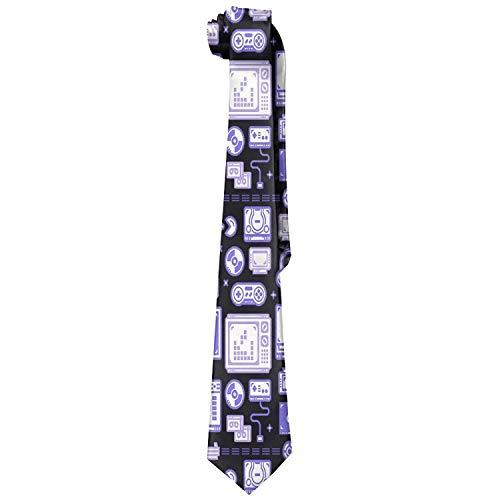 - Blue Gaming Pattern Men's Tie Long Necktie Skinny Neckwear Silk