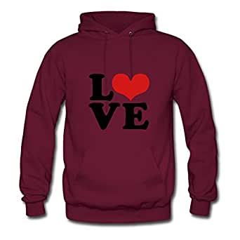 Customizable Burgundy Women Cool X-large O-neck Love Heart Sex Cotton Sweatshirts