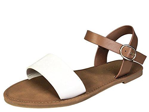 BAMBOO Sunny Feet Women's Single Band Flat Sandal with Quarter Strap, White PU, 7.5 B US