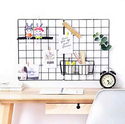 Wire Grid Panel, Grid Wall Photo Display Hanging, Foldable Decor Iron Rack, Photograph Wall Mesh Organizer, Ins Art Display Picture Wall Hangers, File Holder Wall, 25.6 x 17.7 inches, Black, 1 Pack from us beipin