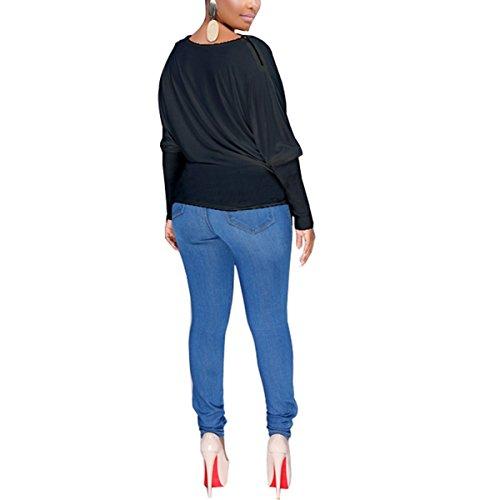 Puro O Dimensione delle sul Black con Colore Fondo Jahurto Collo Donne XL Maniche Magliette a Pipistrello Colore in C7n5wxS