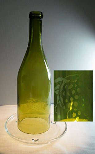 Recycled Wine Bottle Handmade Cafe Candle Etched Grape Design Olive Grape Pillar Candle Holder