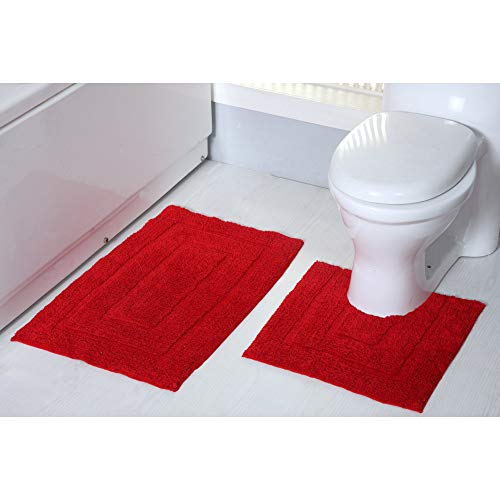 RT Designers Collection Avani 2-Piece Cotton Bath & Contour Mat Set - 20x32 & 20x20 Red