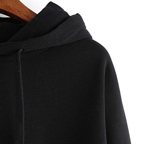 Culater Mujer sudadera con capucha de manga larga de jersey primavera-otoño Negro