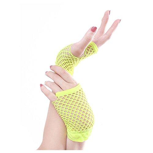 Mujeres Fishnet Gloves, Inkach Girls Punk Goth Lady Disco Dance Costume Lace Fingerless Malla Fishnet Gloves Verde